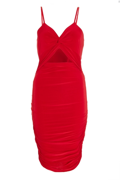 Petite Red Ruched Cut Out Dress